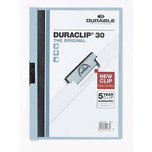 Durable Chemise à clip  Duraclip en PVC - Bleu clair - 30 feuilles