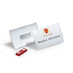 Durable Click Fold Badge nominatif, avec aimant, carte à insérer remplaçable, transparent, 54x90mm
