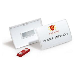 Durable Click Fold, identificadores, con imán, tarjetas reemplazables, transparente, 54 x 90mm