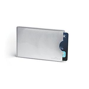 Durable Custodia di sicurezza per tesserini, Protezione carte RFID, 54 x 86 mm, Color argento