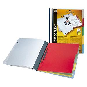 Durable Divisoflex®, Dossier fástener clasificador 5 pestañas, A4, polipropileno/PVC, 100 hojas, azul