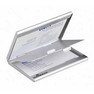 Durable Duo Portabiglietti da visita tascabile, Argento metallizzato