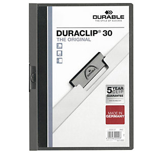 Durable DURACLIP 30 Cartellina con clip fermafogli, A4, Capacità 30 fogli, Grigio antracite