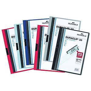Durable Duraclip® Cartellina con clip fermafogli, A4, Capacità 30 fogli, PVC, Colore bianco