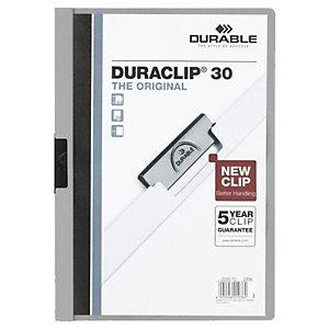 Durable Duraclip® Cartellina con clip fermafogli, A4, Capacità 30 fogli, PVC, Colore grigio