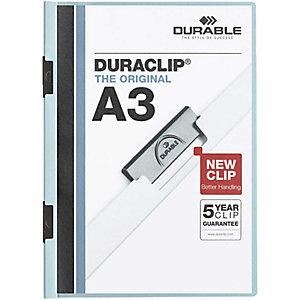 Durable Duraclip®, Dossier de pinza, A3, PVC, 60 hojas, transparente con clip azul