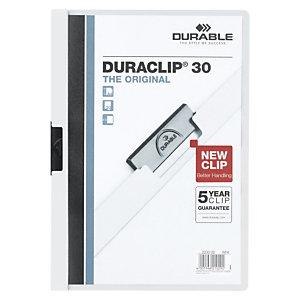 Durable Duraclip®, Dossier de pinza, A4, PVC, 30 hojas, blanco
