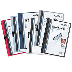 Durable Duraclip®, Dossier de pinza, A4, PVC, 30 hojas, colores surtidos