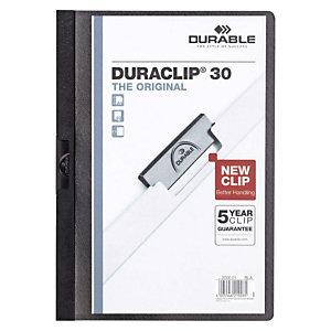 Durable Duraclip®, Dossier de pinza, A4, PVC, 30 hojas, negro