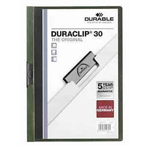 Durable Duraclip®, Dossier de pinza, A4, PVC, 30 hojas, transparente con clip verde