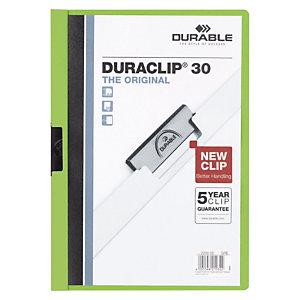 Durable Duraclip®, Dossier de pinza, A4, PVC, 30 hojas, verde pistacho