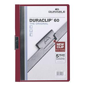 Durable Duraclip®, Dossier de pinza, A4, PVC, 60 hojas, rojo