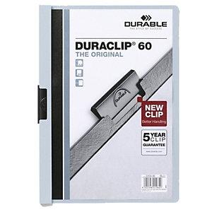 Durable Duraclip®, Dossier de pinza, A4, PVC, 60 hojas, transparente con clip azul claro