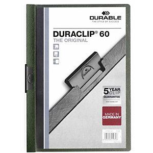 Durable Duraclip®, Dossier de pinza, A4, PVC, 60 hojas, transparente con clip verde