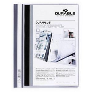 Durable Duraplus, Dossier fástener plástico, A4, PVC, 40 hojas, gris