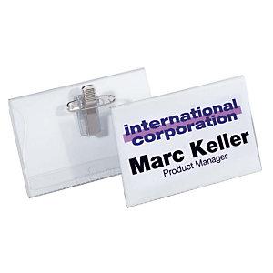 Durable Funda de identificación con imperdible y pinza 54 x 90 mm