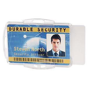Durable Funda rígida abierta para 2 tarjetas de identificación o pases de seguridad