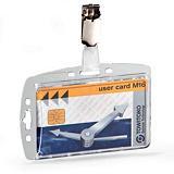 Durable Funda rígida con pinza para tarjetas de identificación o pases seguridad 54 x 85 mm.