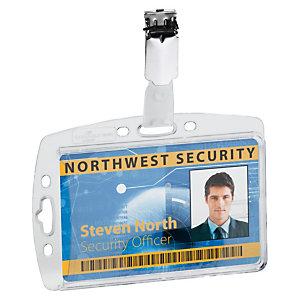 Durable Funda rígida con pinza para tarjetas de identificación o pases seguridad