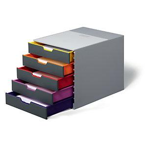 Durable  Module de classement Varicolor 5 tiroirs - Gris / liserés multicolores