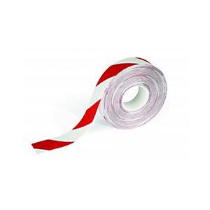 Durable Nastro segnaletico da pavimento Duraline Strong 2, Antiscivolo, 50 mm x 30 m, Rosso/Bianco