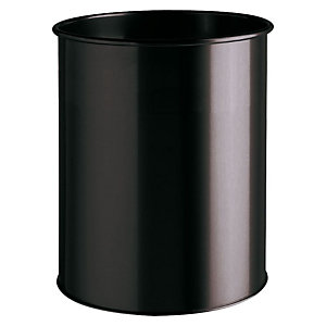 Durable Papelera de oficina, acero inoxidable liso, 15 l, negro