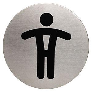 Durable PICTO señal, WC caballeros, 83mm de diámetro, autoadhesiva, acero inoxidable pulido