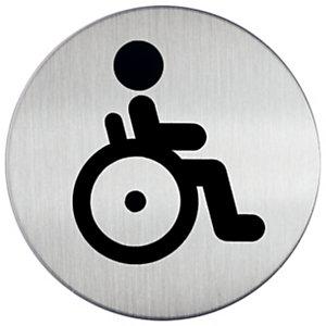 Durable PICTO señal, WC minusválidos, 83mm de diámetro, autoadhesiva, acero inoxidable pulido