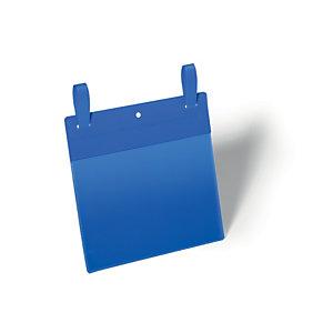 Durable Pochettes logistiques avec système d'attache - Format A5 paysage 210 x 148 mm - Bleu