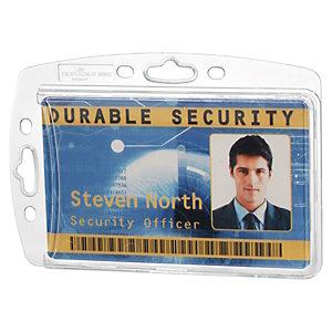 Durable Porta badge rigido per 1 tessera, Senza clip, 54 x 87 mm, Trasparente (confezione 10 pezzi)