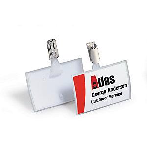 Durable Portanome CLICK FOLD con Clip in metallo, 54 x 90 mm, Trasparente (confezione 25 pezzi)
