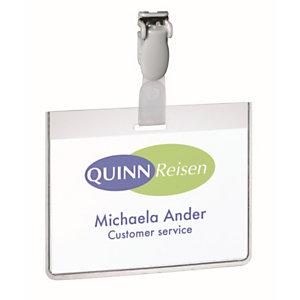 Durable Portanome a tasca chiusa con clip, Formato orizzontale 60 x 90 cm, Trasparente (confezione 25 pezzi)