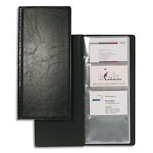 Durable Porte-cartes de visite Visifix noir capacité 192 cartes aspect grain de cuir L11,5 x H25,3 cm