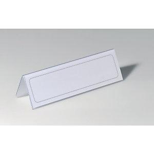 DURABLE Porte-noms de table, fourni avec des insertions vierges de 61 x 210 mm, PVC (paquet 25 unités)