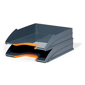Durable Set de 2 corbeilles à courrier Varicolor - coloris gris / liseré orange