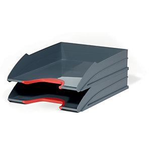 Durable Set de 2 corbeilles à courrier Varicolor - coloris gris / liseré rouge