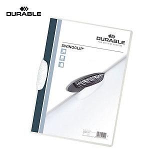 Durable Swingclip Cartellina con fermafogli, Capacità 30 fogli, Bianco
