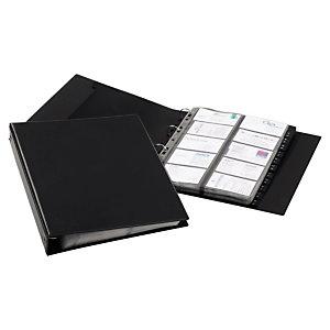 Durable VISIFIX ECONOMY, Clasificador de tarjetas de visita, 400 compartimentos, 12 pestañas, preimpreso: A-Z, Con pestañas, Negro