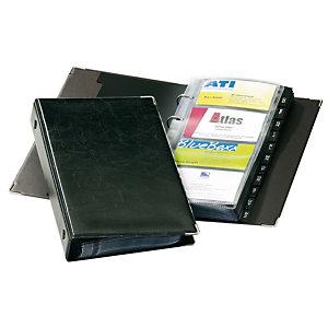 Durable VISIFIX Raccoglitore per biglietti da visita, 12 parti, Prestampato: A-Z, 57 x 90 mm, 200 biglietti da visita, Con divisori, Nero