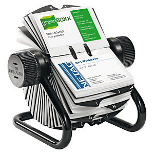 Durable VISIFIX Tarjetero giratorio, capacidad para 400 tarjetas, pestañas A-Z, negro