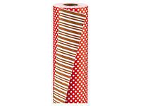 Dwustronny papier do pakowania prezentów - paski / kropki