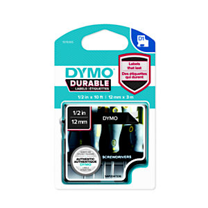 Dymo 1978365 D1 DURABLE blanco sobre negro 12 mm x 3 m
