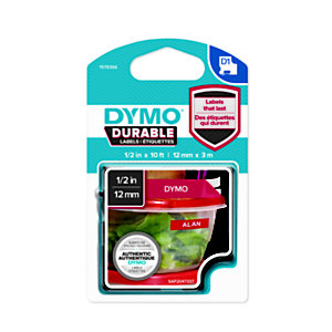 Dymo 1978366 D1 DURABLE blanco sobre rojo 12 mm x 3 m