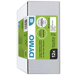 Dymo 2093093 Étiquettes LW polyvalentes authentiques, 36 mmx89 mm, facilement détachables, auto-adhésives, pour étiqueteuses LabelWriter - Lot de 12 rubans