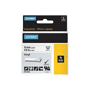 """Dymo Nastro adesivo industriale per etichettatrici """"Rhino"""" - Nero / Bianco - 12 mm x 5,5 m"""