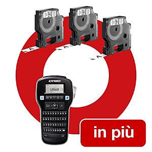 Dymo Offerta 3 nastri D1 da 12 mm nero su bianco + 1 Etichettatrice LabelManager 160 compresa nel prezzo