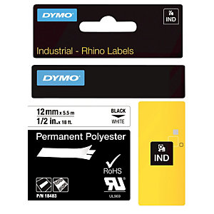 Dymo Rhino Cinta de etiquetas 18483 poliéster negro sobre blanco permanente 12 mm x 5,5 m