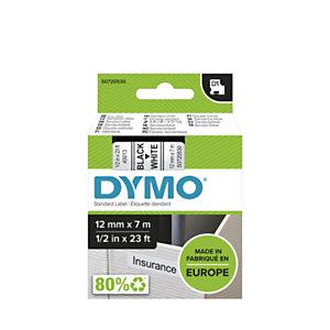 Dymo Ruban D1 12 mm S0720530 blanc écriture noire