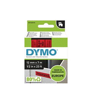 Dymo Ruban D1 12 mm S0720570 rouge écriture noire