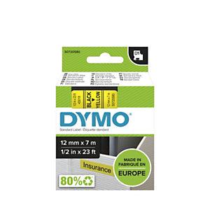 Dymo Ruban D1 12 mm S0720580 jaune écriture noire